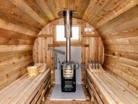 Harvia poêle au feu de bois dans le sauna barrique