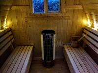 Projet de sauna extérieur bricolage avec lumières LED et chauffage électrique harvia cilindro